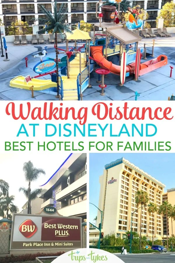 Disneyland bound? The very best hotels within easy walking distance of the two Disneyland parks in Anaheim, California. Includes an overview of family-friendly hotel amenities at each, including pools, room occupancy, free breakfast, and more! #disneyland #disneylandwithkids #hotels #familytravel