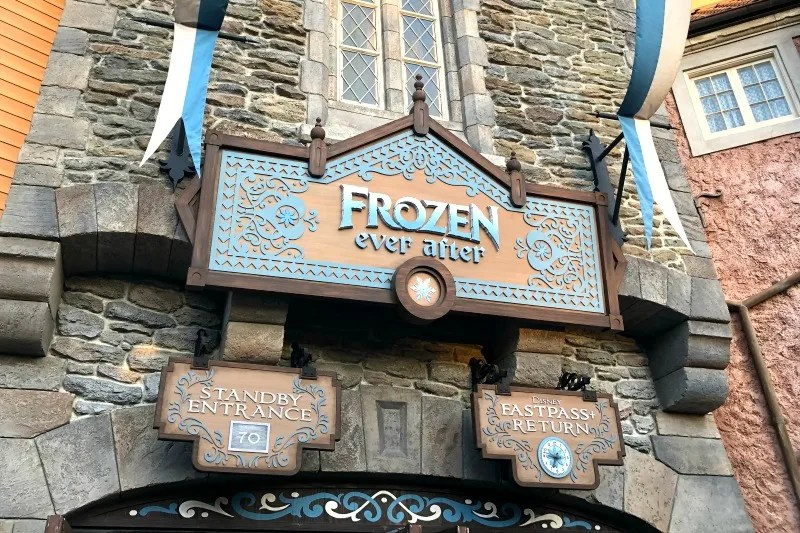 Entrance to Frozen Ever After ride in Epcot in Disney World