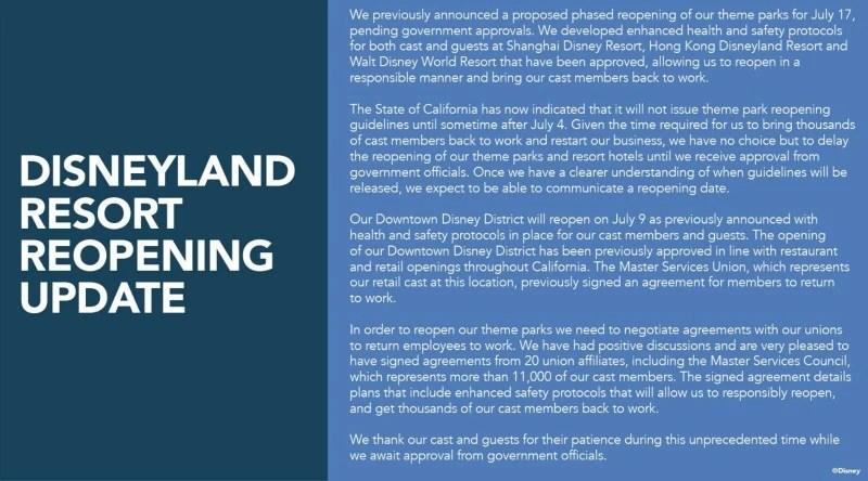 Disneyland Reopening Delayed