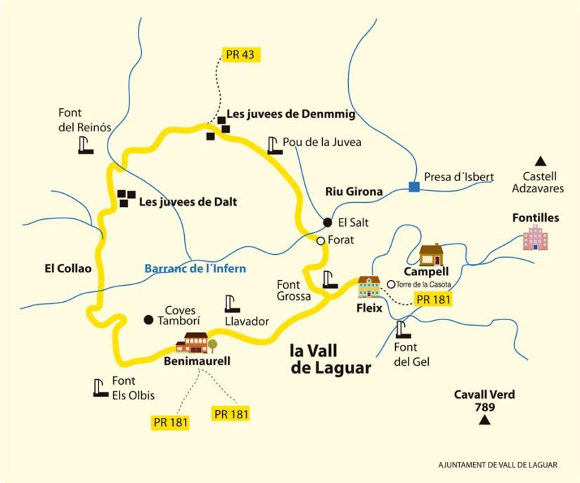 Barranc de l'Infern Loop HIking Trail Map