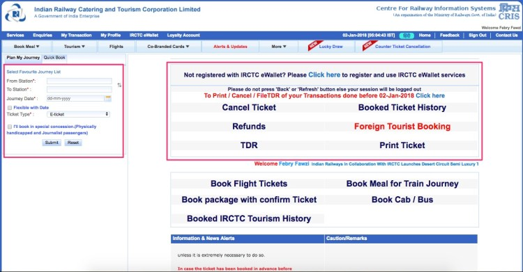 Booking Tiket Kereta di India