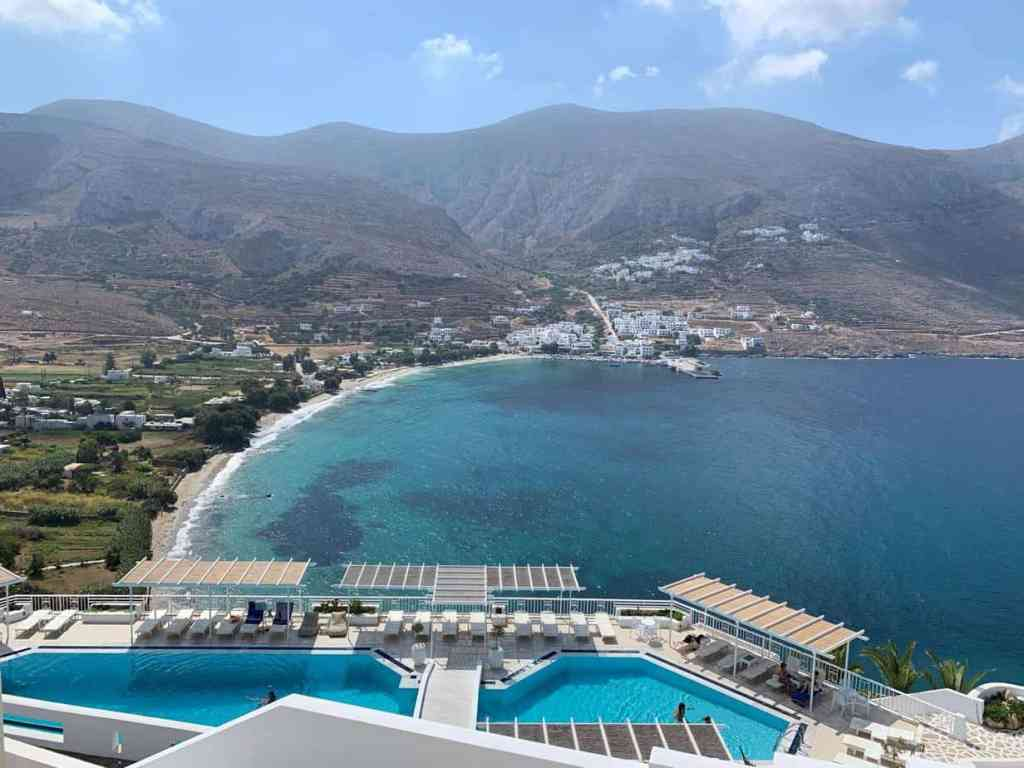 View from Aegialis hotel spa in Amorgos