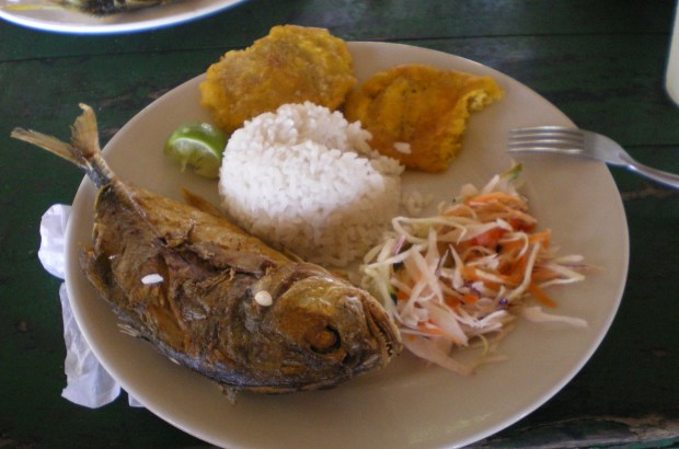 Fried Colombian fish with coco rise and salad.
