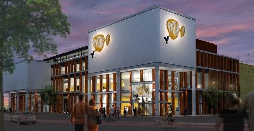 zijaanzicht van nieuwe pathe bioscoop in Zwolle