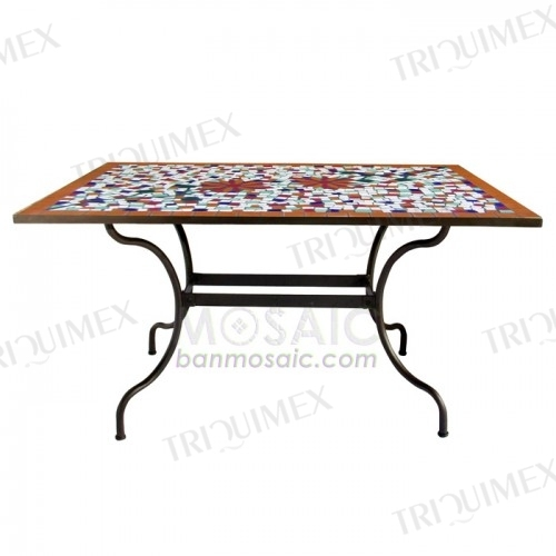 Rectangular Mosaic Outdoor Dining Table with Iron Base