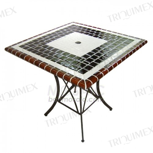 Square Mosaic Patio Table with Wrought Iron Base