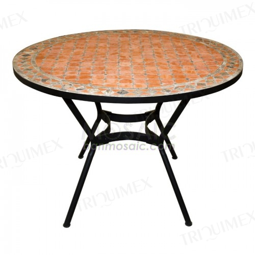 Round Garden Restaurant Dining Table with Terracotta Mosaic Top