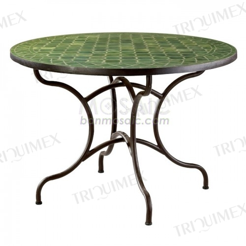 Round Mosaic Patio Dining Table for Outdoor Use