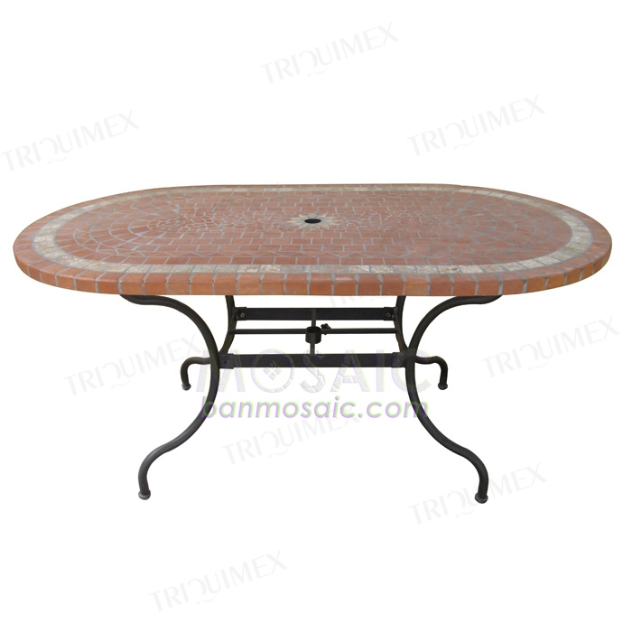 Oval Mosaic Table with Parasol for Garden