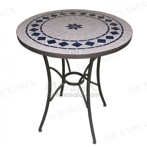 Round Bistro Table with Tiled Top Wrought Iron Base