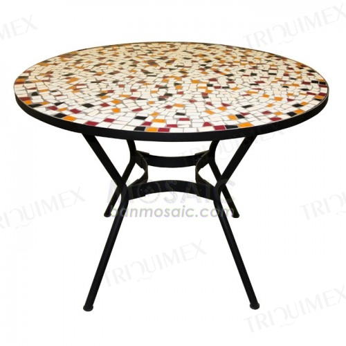 Round Dining Table with Colorful Mosaic Top