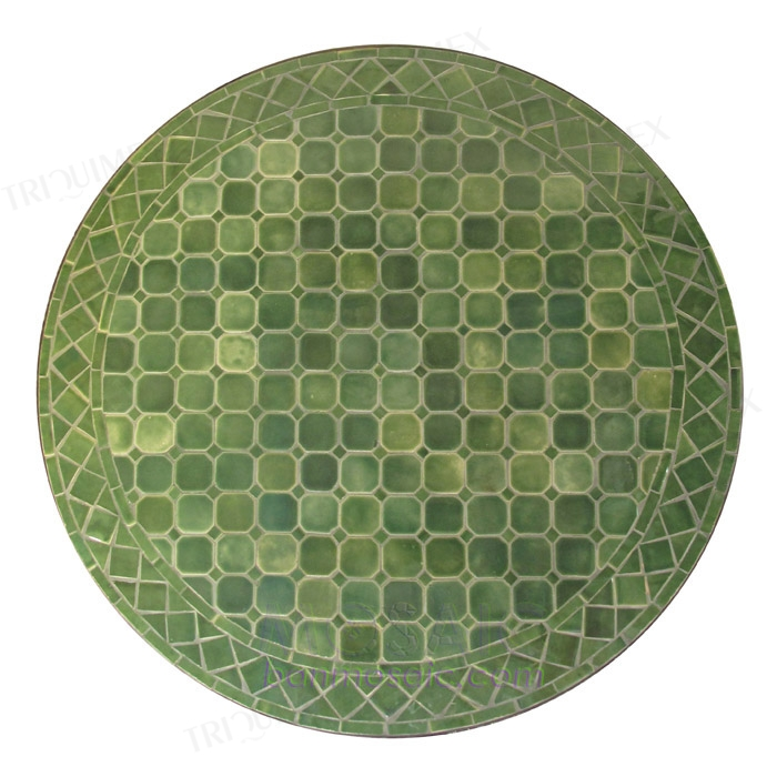 Green Round Mosaic Patio Dining Table Wrought Iron Base
