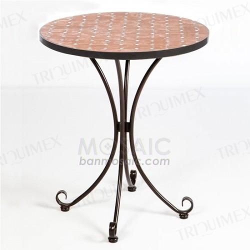Round Bistro Table Terracotta Mosaic Top