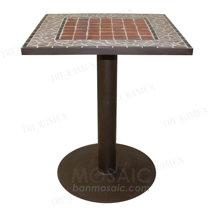 Square Mosaic Bistro Table with Powder Coated Iron Base