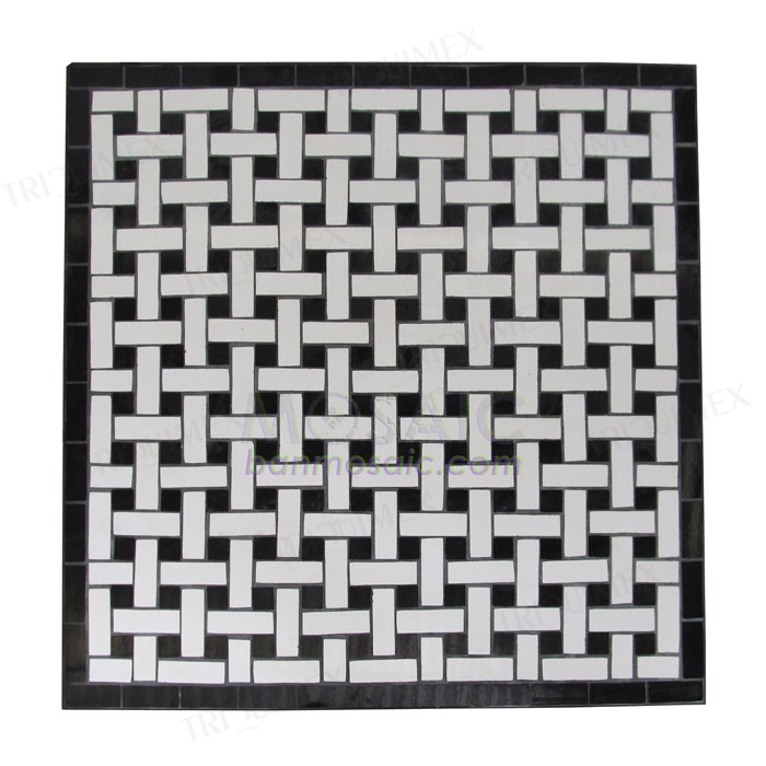 Square Mosaic Outdoor Table, Black and White