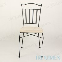 Wrought Iron Dining Chair- Lattice Seat- Slat Back