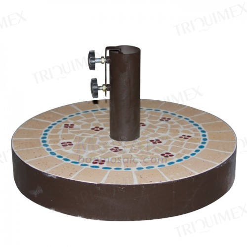 Round Concrete and Mosaic Parasol Base