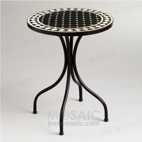 Iron Outdoor Bistro Table with Round Black and White Mosaic Top