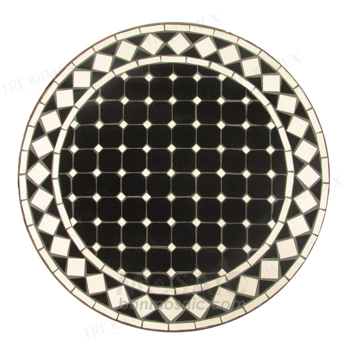 Outdoor Bistro Table with Round Black and White Mosaic Top