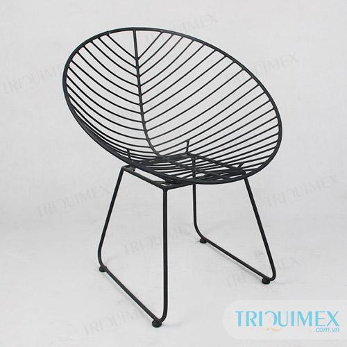 GH-136 powder coated iron fishbone chair