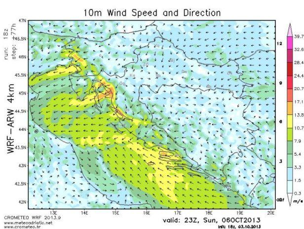 karta vjetra za vikend