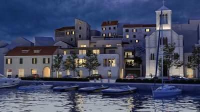 Planirani stambeno-poslovni objekt na rivi jedan je od glavnih kamena spoticanja šibenskog Konzervatorskog odhjela (Foto/Simulacija: Jadran Kapital)