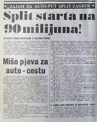 Članak iz starih novina o sakupljanju novca za autoceste