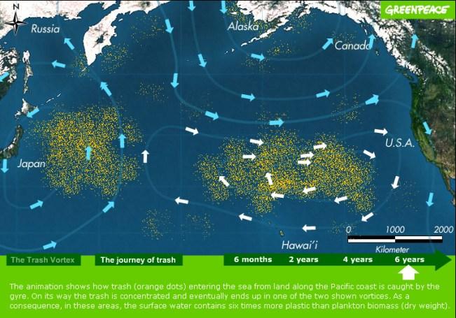 Karta s položajem plastičnih kontinenata (Greenpeace)