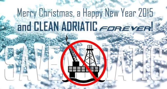 Blagdanska čestitka sa željama protiv bušenja Jadrana (foto Facebook Save Adriatic)