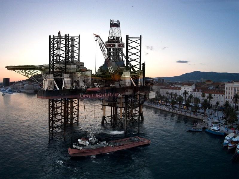 Jedna od sugestivnih fotomontaža - platforma pred Splitom