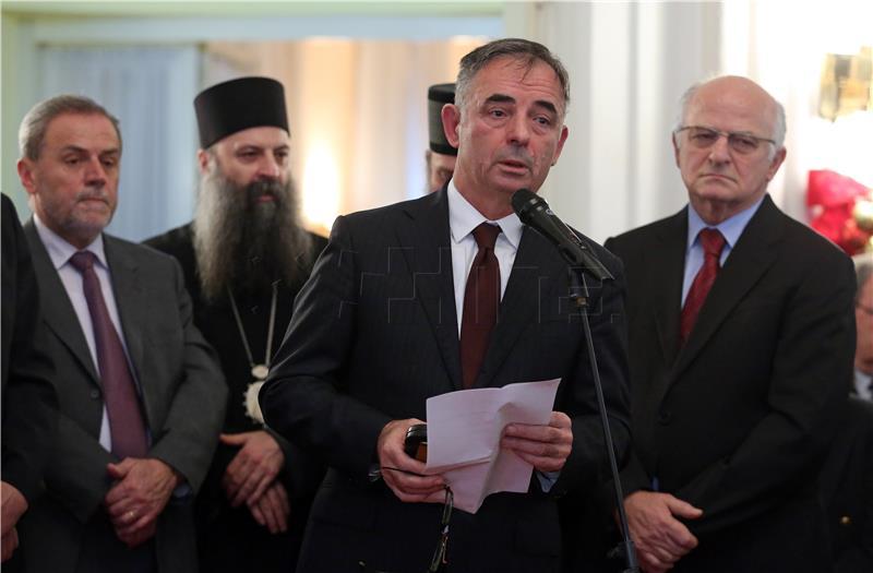 Milorad Pupovac danas na prijemu SNV-a (foto HINA)