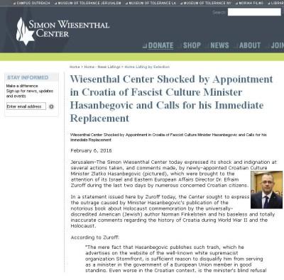 Printscreen priopćenja na stranicama Simon Wiesenthal centra