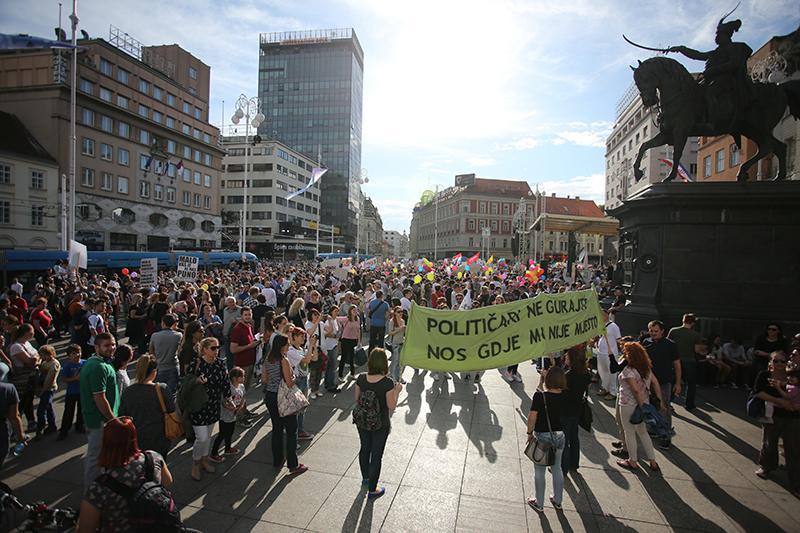 Prosvjed u Zagrebu (HINA/ Lana SLIVAR DOMINIĆ)