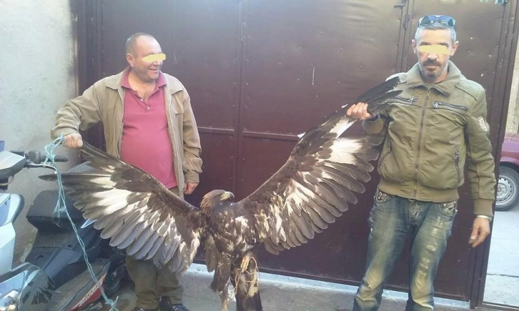 Dva lovca-idiota, kako su ih nazvali i ulovljeni orao (foto Facebook)