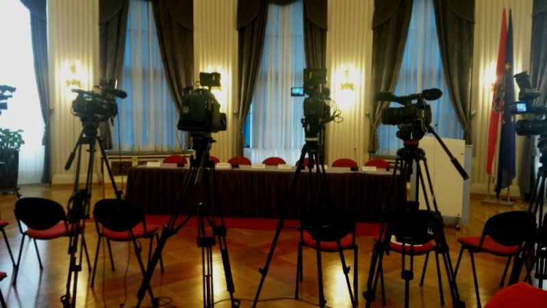 Dvorana Novinarskog doma nekoliko minuta prije početka presice (Foto: TRIS)