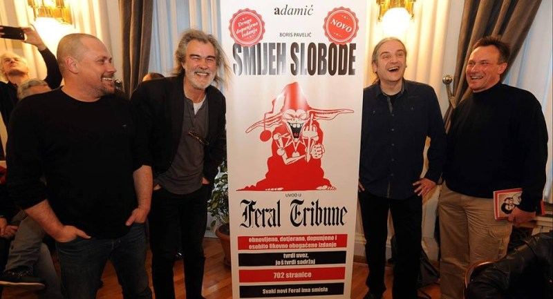 Nasmiješeno društvo (Dežulović, Ivančić, Lucić i Pavelić) na predstavljanju drugog izdanja knjige
