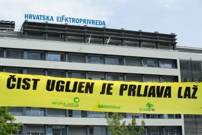 Prosvjed ispred zgrade HEP-a/Maja Bota/Greenpeace