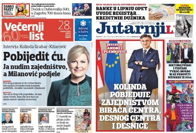 Ilustracija: Naslovnice dviju najtiražnijih tiskovina u subotu. Slučajnost? Oglašavanje? Zajednički kolegiji?