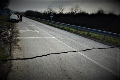 No Way - pukla cesta na Baniji (ilustracija)