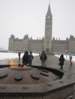 Parliament buildings and the flame during the CaRMS tour.