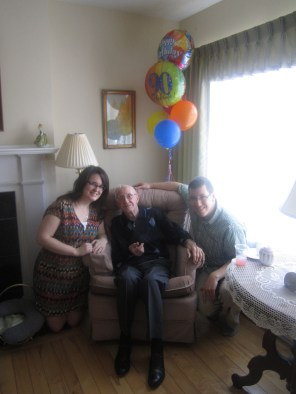"""Patrick and I with his """"Granky"""" at his 90th birthday!"""