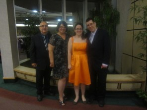 At the formal dinner & dance following my graduation.