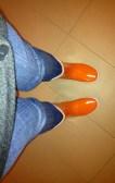 My beloved orange rubber boots.
