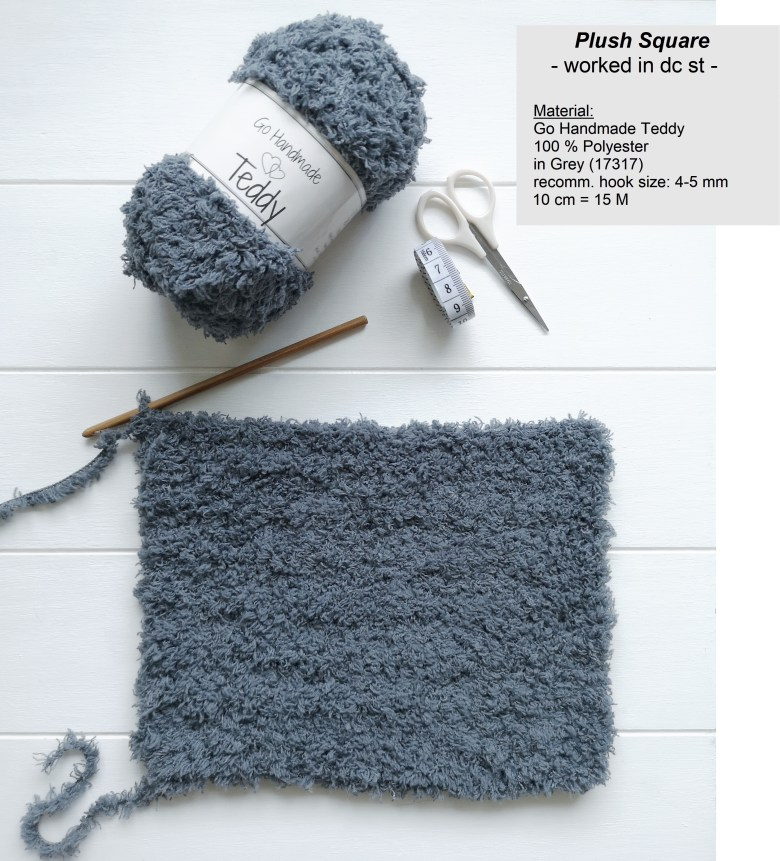 Material and Output for a Plush Crochet Square