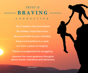 Brene Brown, anatomy of trust, braving connection, trust, trishakeehn.com