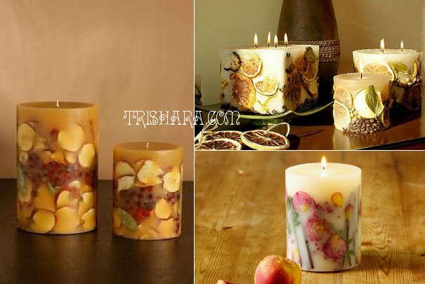 frukty-v-sveche Новогодние свечи 2019 своими руками: техники изготовления, декупаж, фото вариантов декора свечей