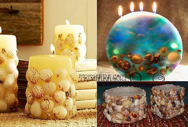 rakushki-v-svechakh Новогодние свечи 2019 своими руками: техники изготовления, декупаж, фото вариантов декора свечей
