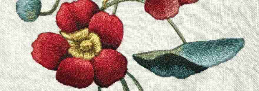 Cross stitch kit Nasturtium Satin Stitch embroidery set