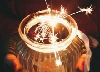 dark evening fireworks glass