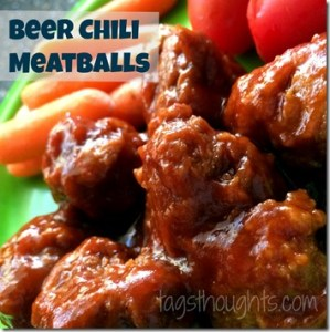 Beer Chili Meatballs Recipe by TrishSutton.com